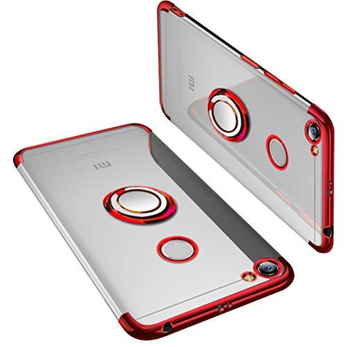 UBERANT Capa Redmi Y1, ultra leve, fina, transparente, anel de TPU macio, suporte com placa de metal magnética, antiderrapante, à prova de choque, capa protetora para Xiaomi Redmi Note 5A Prime/Redmi Y1 5,5 polegadas, vermelho