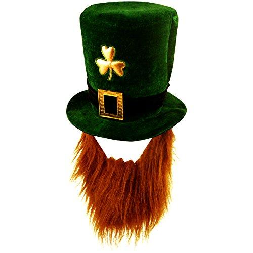 cappello con barba, con trifoglio, per travestimento da leprecauno irlandese, accessorio per San Patrizio