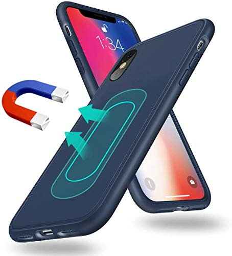 Magnetic Case for iPhone X/Xs,[Invisible Built-in Metal Plate] Ultra Thin Support Magnetic Car Mount,Soft TPU Shockproof Anti-Scratch 360 Protective Cover for iPhone X/Xs 5.8'' Blue