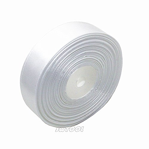 """SWTOOL 1"""" Solid Satin Ribbon 50 Yards Roll for Wedding Details, Sewing Projects, Gift Wrapping, Invitation Embellishments and Crafting Projects Etc (White)"""