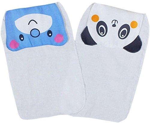 Lot de 2 serviettes en gaze de coton pour bébé Motif ourson/panda