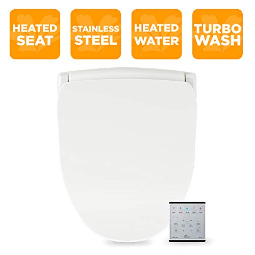 Bio Bidet Slim Two Smart Toilet Seat in Elongated White with Stainless Steel Self-Cleaning Nozzle, Nightlight, Turbo Wash, Oscillating and Fusion Warm Water Technology with Wireless Remote