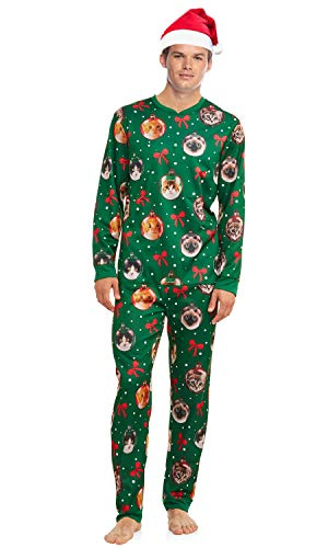 Men's Lighted Cat Ugly Christmas Sweater Union Suit Pajamas with Santa Hat (Large 42-44) Green