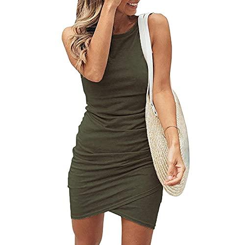 Sweetop Vestiti Donna Abbigliamento Donna Vestiti Donna Estivi Donna Vestito Abiti Estivi per Donna Mini Abito da Lavoro Aderente in Tinta Unita Casual