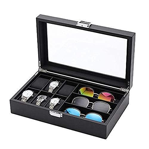 T.T-Q Caja de reloj multifunción de 6 + 3 dígitos para gafas Cajas para relojes ventana caja de reloj negra de fibra de carbono caja de reloj de cuero para almacenamiento y visualización 35*20*9 cm