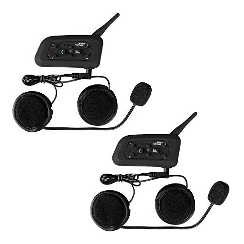 V6 Moto Bluetooth Casco Intercomunicador Intercomunicador Auricular, dúplex Completo Moto inalámbrico Interfono Conecte hasta 6 pasajeros, Radio FM/GPS / MP4 / 1200M(2 Pieza Cable Duro)