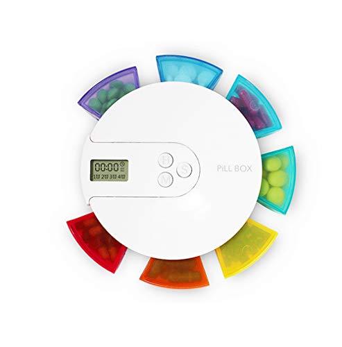 HWQ Intelligente 7-cel Pillbox Timer, Kleurrijke Elektronische Wekker Herinneringsset, Abs Nieuw Materiaal + Elektronische Componenten, Makkelijk mee te nemen