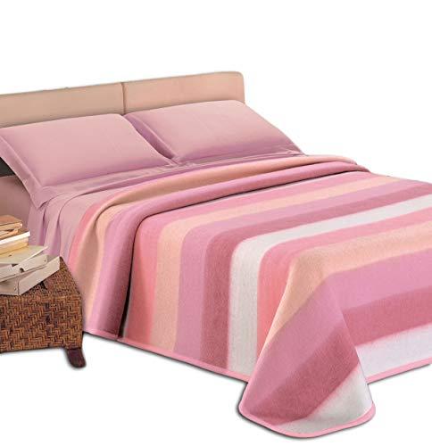 Centesimo Web Shop Coperta 50% Lana Invernale Righe Multicolore Arcobaleno 450 g/mq Italiana Italia Moderna - Una Piazza Rosa