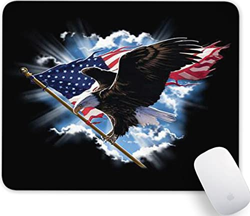 American Flag Eagle Gaming Mouse Pad-Cute Rectangular Non-Slip Rubber Mousepads for Computers Laptop Office