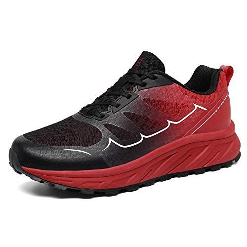 K DUORO Herren Damen Laufschuhe Straßenlaufschuhe Sneaker Leichte Joggingschuhe Turnschuhe Walkingschuhe Traillauf Fitness Schuhe (Schwarz/Rot, 42 EU, 42)