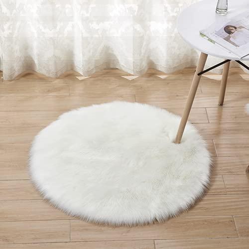 JTKJ Faux Schaffell Teppich super weiches Fell Bett Teppich Sofa Kissen Bodenmatte Schlafzimmer Teppich Plüsch Teppich Yogamatte grau 60cm Durchmesser
