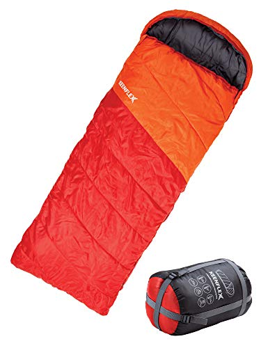 KeenFlex Schlafsack 3 Jahreszeiten Deckenschlafsack Ideal für Camping Backpacking oder Wandern (Orange)