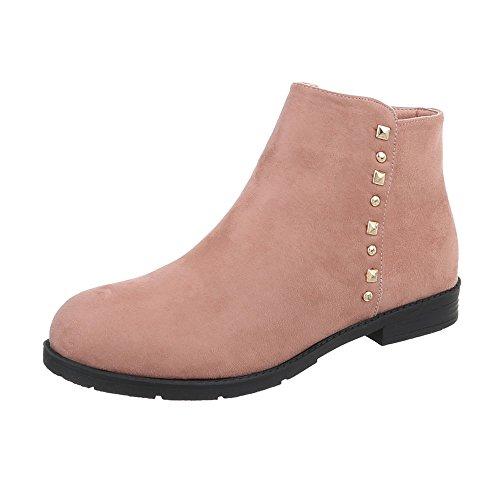 Ital-Design Klassische Stiefeletten Damen-Schuhe Klassische Stiefeletten Blockabsatz Blockabsatz Reißverschluss Stiefeletten Altrosa, Gr 38, Nk03-