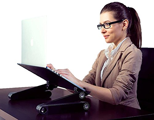 "Uncaged Ergonomics WorkEZ Executive Adjustable Ergonomic Laptop Cooling Stand Lap Desk for Bed Couch with 2 Fans & 3 USB Ports folding aluminum desktop riser tray height tilt angle portable macbook cooler cooling,Black, ""panel: 18"" by 11"""" (WEEFHb) Photo #6"