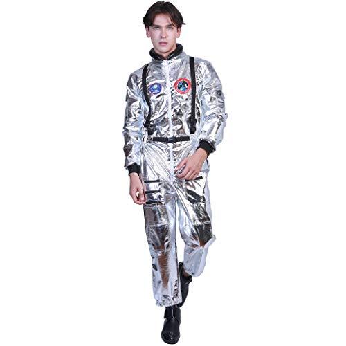 EraSpooky Astronauta Disfraz Plateada para Hombre Cadete del Espacio Americano