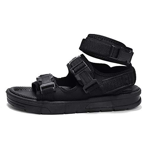DADIJIER Sandalen Für Männer Mode Schuhe Slip On Style Strickbekleidung Materialien Leicht Und Flexibel Für Sommer Tragbare Klettverschluss Design Anti-Rutsch (Color : Schwarz, Größe : 41 EU)
