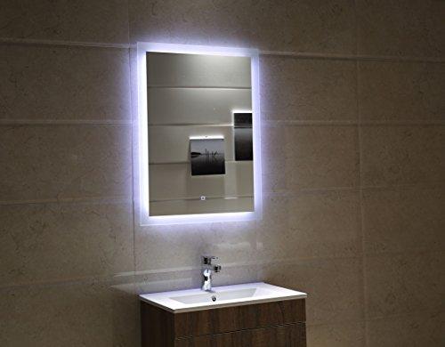 Dr. Fleischmann Badspiegel LED Spiegel GS084 mit Beleuchtung durch satinierte Lichtflächen Badezimmerspiegel Touch-Schalter (60 x 80 cm)