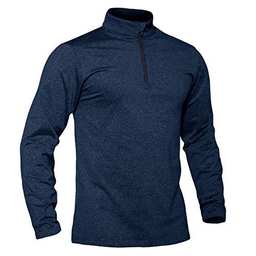 TACVASEN Joggingshirt Herren Longsleeve 1/4 Zip Slim Fit Funktionsshirt Schnelltrocknend Langarmshirt Atmungsaktiv Weich Fleecepullover Fitness Shirt Männer Stretch Sportshirt Blau
