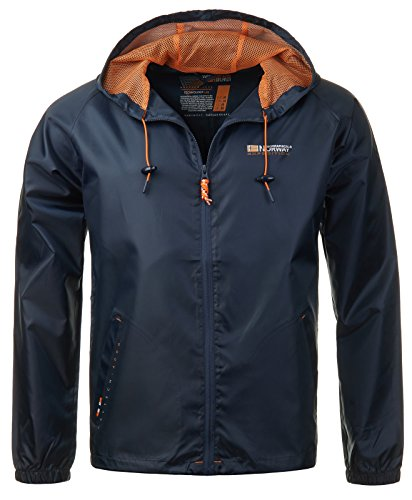 Geographical Norway Herren Regen Jacke Übergangs Windbreaker Outdoor Regenjacke [GeNo-18-Navy-Gr.M]