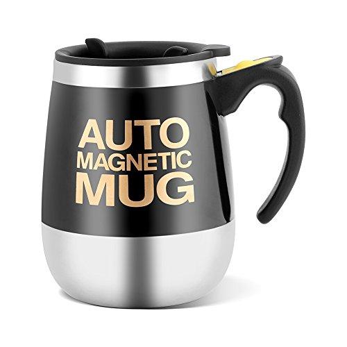 Fdit Selbstrührender Kaffeebecher aus Edelstahl, mit Aufschrift Auto Magnetic Mug für Kaffee, Tee, Heiße Schokolade, Milch, Kakao und Protein-Getränke Schwarz