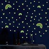 3 unids/set Heart Rainbow Luminous etiqueta de la pared dormitorio decoraciones para el hogar mural niños habitación del bebé papel pintado resplandor en la oscuridad Pegatinas