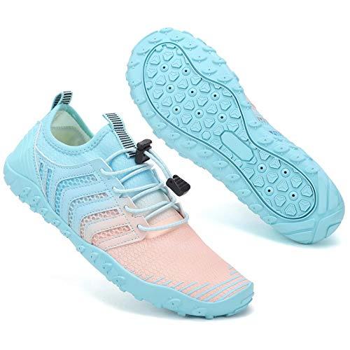 Zapatos de agua para hombre y mujer de secado rápido Piscina descalzo Aqua Deportes acuáticos Surf Beach Boating Snorkeling Buceo Lago Yoga Zapatos Calcetines, color Azul, talla 40 EU
