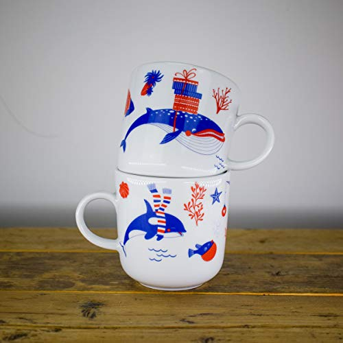Kaffeebecher 2er-Weihnachts Set - Unterwasserweihnacht - Maritime Porzellan-Tasse original aus dem Norden