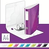 Leitz 11060062 Multifunktions-Ordner (A4, Runder Rücken (8, 2 cm Breite) Gummibandverschluss, Kunststoff, WOW) violett metallic