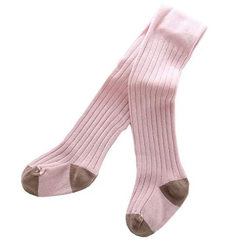 Gebreide Panty Meisjes Katoen Broek Panty Kinderen Warm Tight voor Peuter Baby Leggings met Voeten Winter Leggings Kinderen Hoge Taille Bijpassende Rok S/15-17/0-6M roze