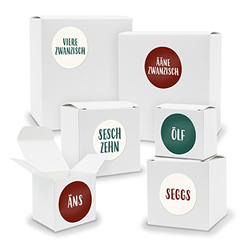 DIY itenga Adventskalender Set zum Selberbefüllen 24 Schachteln Quader und Würfel gemischt WEISS + ZahlenSticker (Motiv Z27 Saarländisch)