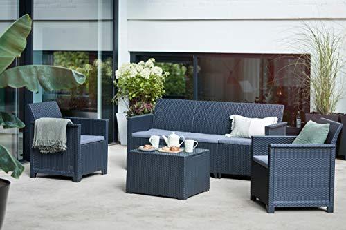 Lounge-Set 4-tlg. bestehend aus: 3er Sofa, 2X Sessel und Kissenbox Tisch - stilvolle Sitzgruppe in Rattan Optik - inklusive Sitzkissen - ergonomische Rückenlehnen für maximalen Sitzkomfort