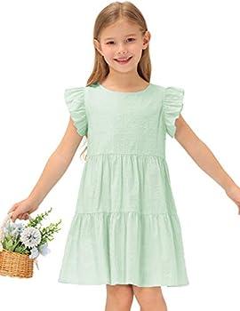 GRACE KARIN Girls Summer Dress Sleeveless Casual Crewneck A-Line Dresses for 5-12 Years Kids Green 10-12 Years