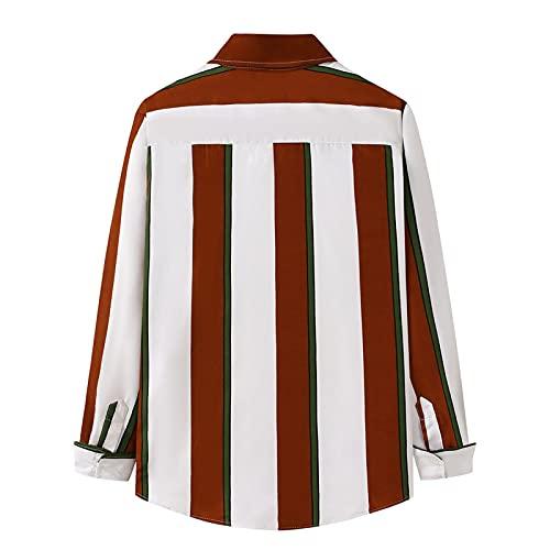 D-Rings Camisa a cuadros para hombre, corte normal, manga larga, camisa de franela, rojo, XXL