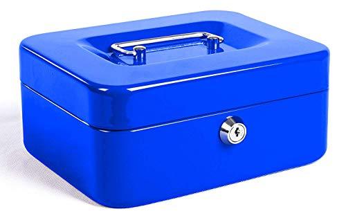 Caja de Efectivo con Bloqueo de Teclas, Caja de Dinero de Metal Portátil con Doble Capa y 2 Teclas Para Seguridad 15 * 12.5 * 7.6cm(L, Azul)