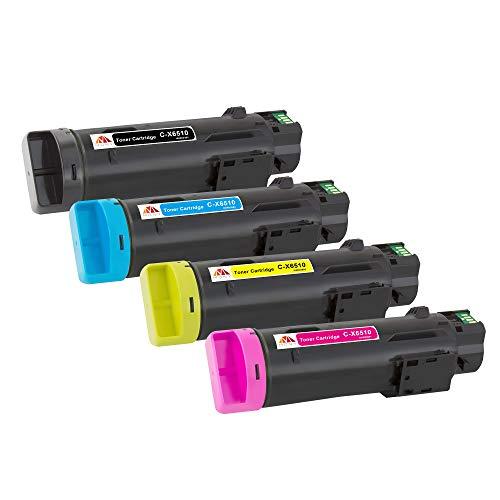 Mony Kompatibel Toner Patrone für Xerox WorkCentre 6515 Phaser 6510 Drucker mit Hoher Kapazität- 5500 und 4300 Seiten, 106R03480 106R03690 106R03691 106R03692 (1 Schwarz, 1 Blau, 1 Magenta, 1 Gelb)
