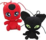 Feidiao 2 Pcs 15 Cm Ladybug Plagg et Tikki Peluche Douce Poupée Confort Bébé