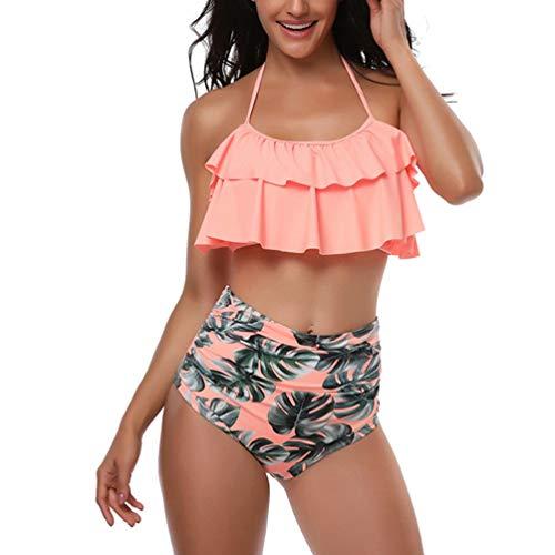 Reciy Damen Halfter Top Hoher Taille Badeanzüge Bademode Bikinis Set Orange S