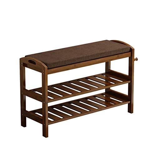 Yyqx Zapatero de madera de bambú, estante de 2 niveles para la entrada de zapatos, organizador de cambio de zapatos (tamaño: 80 cm)