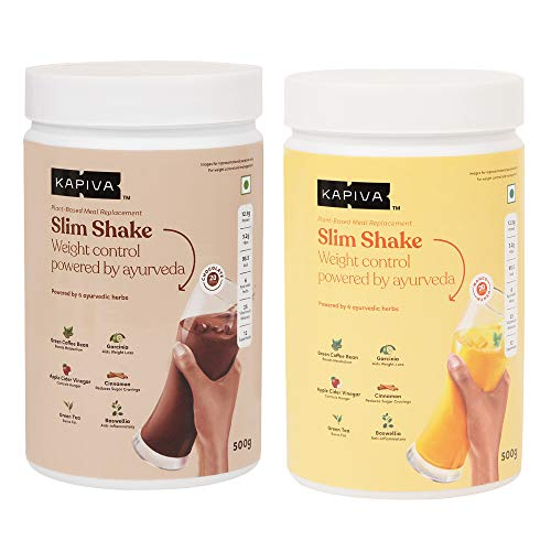 Kapiva Slim Shake Combo - Chocolate & Mango Flavour   Complete Meal Replacement Enriched With 6 Ayurvedic Herbs - Helps in Weight Management - 500g