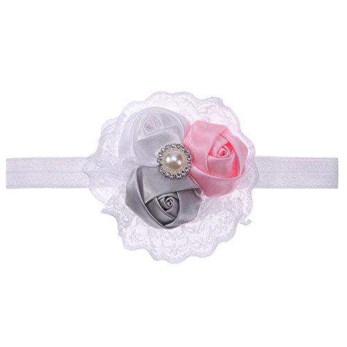 Domybest bébé enfants Elastiques Headwear 3 petites fleurs Dentelle Bandeaux Accessoires Cheveux Cadeau