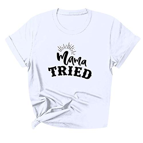 Women Summer Mother's Day Mom O Neck Short Sleeve Print Tee Slim White T-Shirt