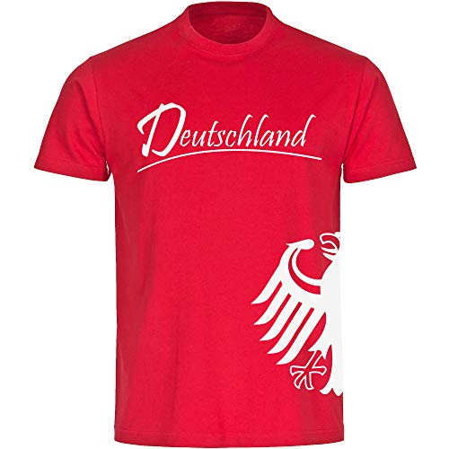 T-Shirt Deutschland Trikot Adler seitlich Herren rot Gr. S - 3XL - Fanshirt Fanartikel Fanshop Trikot Fußball EM WM Germany,Größe:XL,Farbe:rot