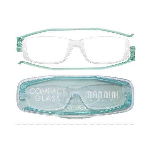 老眼鏡 コンパクトグラス2 nannini リーディンググラス 男性用 女性用 メンズ レディース シニアグラス 全12色(+3.00,グリーンウォーター)