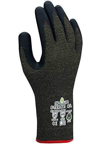 SHOWA S-TEX 581 Schnittfeste Nitrilbeschichtete Handfläche mit Hagane-Spule und Kevlar-Innenfutter, 13 Gauge, Schwarz, XL