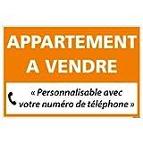 Panneau Immobilier Personnalisable Appartement à Vendre avec Oeillets aux 4 Coins - Orange - Plastique Rigide AKILUX 3,5mm - Dimensions 600x400 mm - Protection Anti-UV
