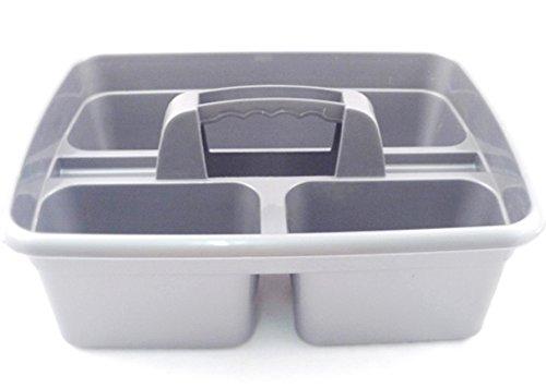 Aufbewahrungskorb mit Griff, ideal unter der Küchenspüle, für Reinigungsmittel, als Werzeugaufbewahrung Silberfarben, 2 Stück