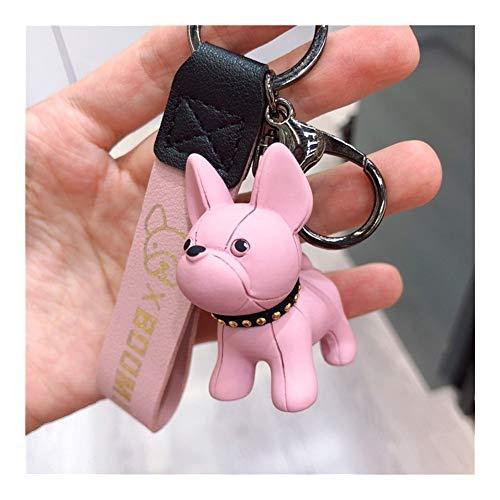 AOSUAI Fashion French Punk Bulldog Keychain Dog Keychains for Women Bag Charm Trinket Men Car Key Ring Key Chain (Color : Pink)