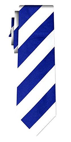 Cravate soie rayée stripe 1in blue white