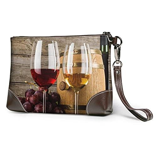 Yaxinduobao Bolso de mano con estampado de vino tinto Galsses, monedero de cuero desmontable, cartera, bolsos de mujer, bolsa de dinero