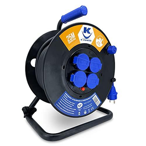 K•Power – Enrollador eléctrico profesional 25 m Sección 3G2,5 mm2 H07RNF 16 A, 4 tomas con válvula IP44, enchufe azul, interruptor térmico de seguridad, asa de transporte, alargador